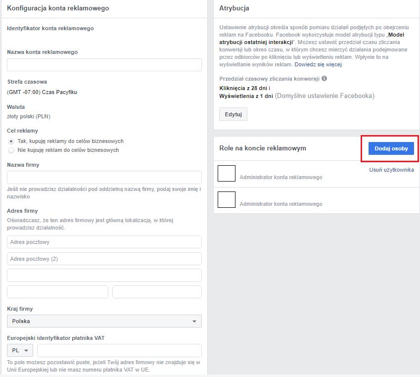 konfiguracja konta reklamowego facebook ads