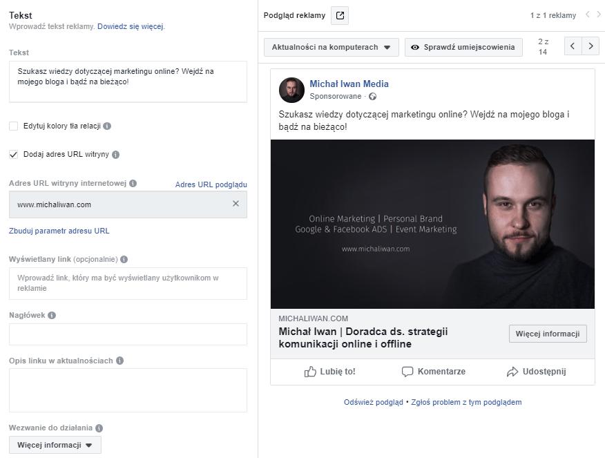 nowy post reklamowy w kampanii facebook ads